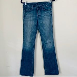 7 for all man kind flare jeans dark button fly 26